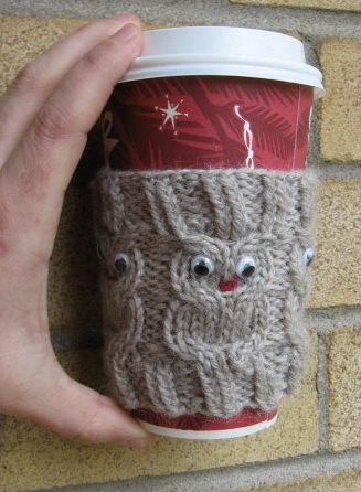 Free Knitting Pattern for Owl Cup Cozy