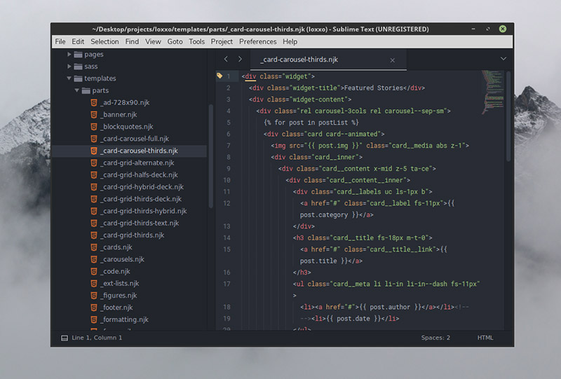 Gravity Theme for Sublime Text